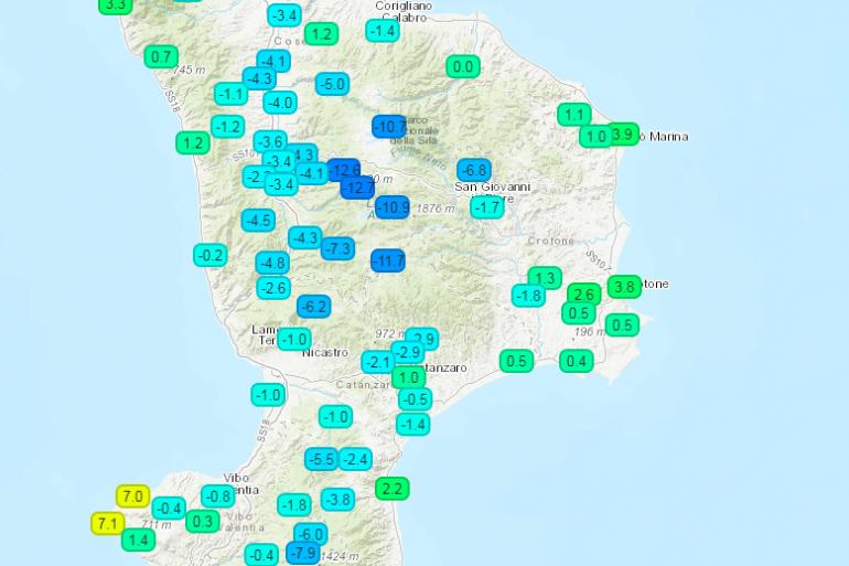 Calabria ,temperature siberiane registrate nella notte