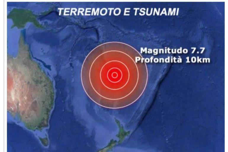 MONDO: NUOVA CALEDONIA Violento terremoto di magnitudo 7.7 RISCHIO TSUNAMI