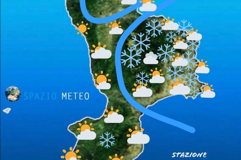 Previsione per lunedi': Neve fino in pianura sul crotonese, fiocchi notturni su Catanzaro?