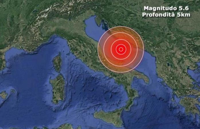 TERREMOTO: FORTE SCOSSA di MAGNITUDO 5.6 avvertita in mezza Italia. Anche a Pescara, Roma, Bari, Napoli